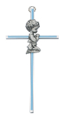 Praying Boy Silver with Blue Enamel Cross