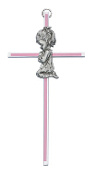 Praying Girl Silver with Pink Enamel Cross