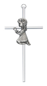 Praying Girl Silver Cross