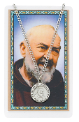 St. Pio Pewter Medal on 24'' Chain and Prayer Card