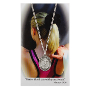 Gymnastics Pewter Medal on 18'' Chain and Prayer Card