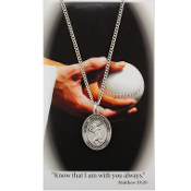 Softball Pewter Medal on 18'' Chain and Prayer Card
