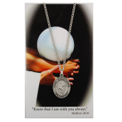 Volleyball Pewter Medal on 18'' Chain and Prayer Card