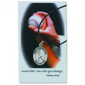 Baseball Pewter Medal and Prayer Card