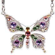 Ornate Crystal Butterfly Necklace