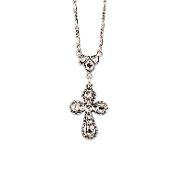 Crystal Rounded Cross Necklace