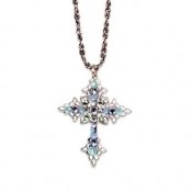 Ornate Multicolor Crystal Cross Necklace