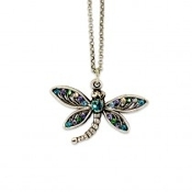Crystal Dragonfly Antiqued Sterling Silver Plated Necklace