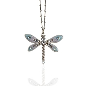 Crystal and Enamel Pastel Dragonfly Necklace