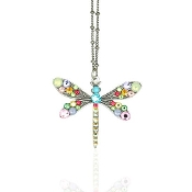 Pastel Crystal Dragonfly Necklace