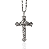 Crystal Cross with Flower Detail Necklace
