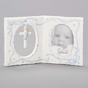 Baptism Photo Frame with Cross, Boy, 4''