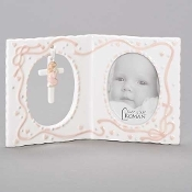 Baptism Photo Frame with Cross, Girl, 4''