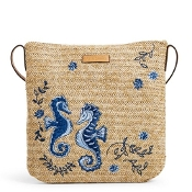 Vera Bradley Straw Crossbody in Natural Sea Life