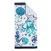 Vera Bradley Double Sided Beach Towel in Mint Sea Life