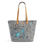 Vera Bradley Front Pocket Straw Tote in Mint Brown Sea Life
